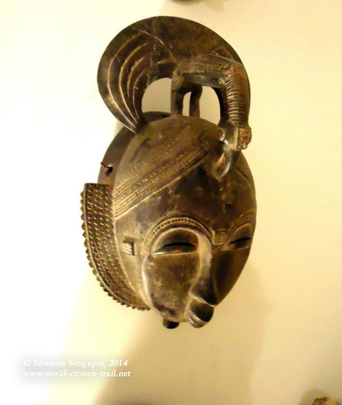 Most probably is a Guro mask. Guro masks are often very colourful ceremonial