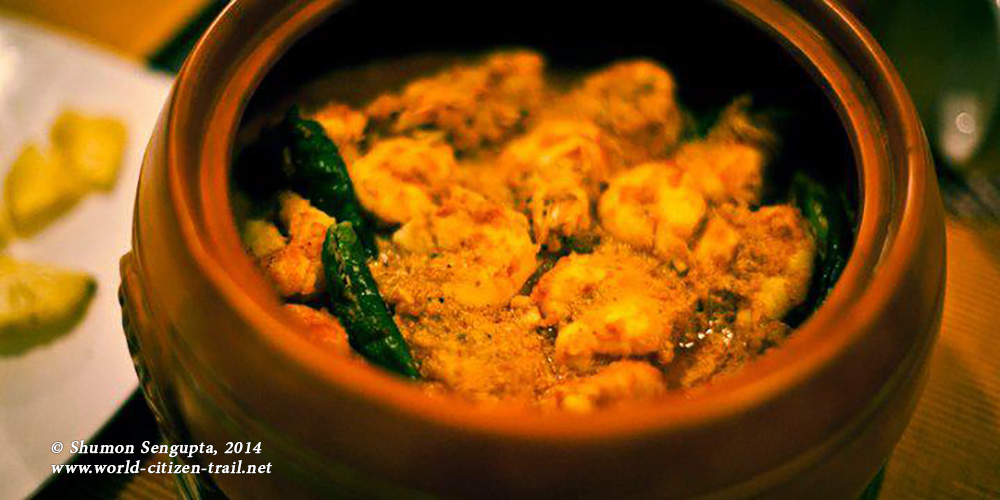 Chingri macher malai curry (lobsters cooked tender in a coconut milk based g