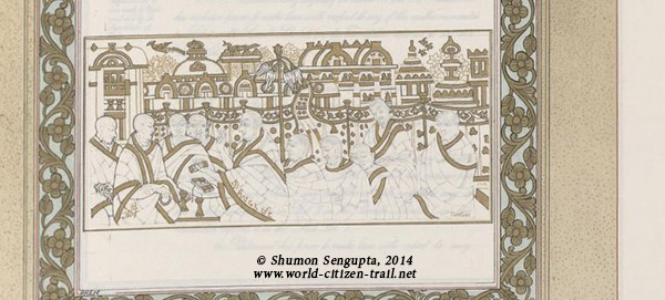 Scene depicting one of the ancient universities (Nalanda)- Close-up