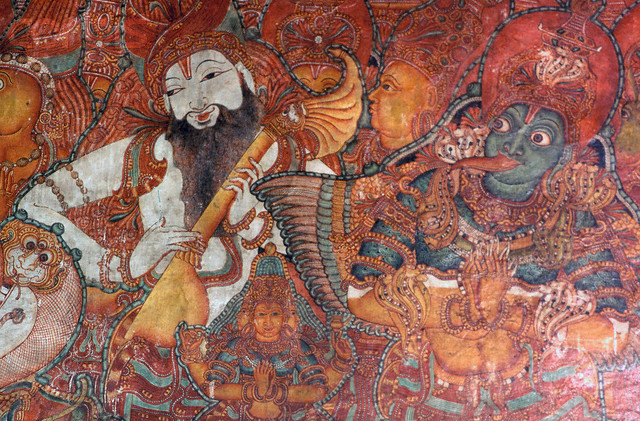Detail of an Indian Mural Painting of Vishnu and a Musician