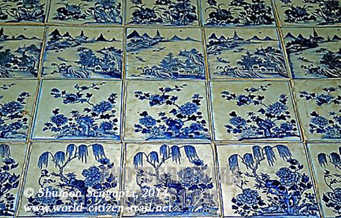 Hand painted floor tiles at Paradesi Synagogue , Mattancherry , Cochin  India