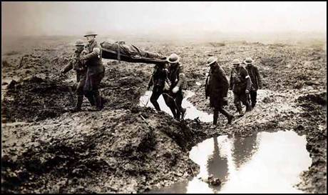 Canadian stretcher bearers in Flanders fields photographed in 1915, around the time that Canadian John McCrae  wrote his world famous war memorial poem In Flanders Fields. Source: http://www.flandersfieldsmusic.com/ww1-photos.html