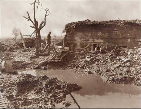 A Hun Pill-Box amidst surroundings characteristic of the Ypres salient. Source: http://www.flandersfieldsmusic.com/ww1-photos.html
