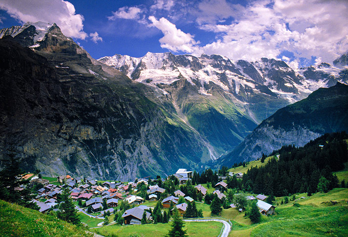 Mürren – Nestled by Magnificent Mountains,  Switzerland